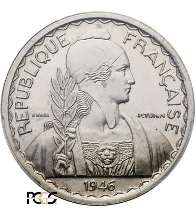 Indochiny Francuskie 1 piastre 1946 - Essai (Pattern), PCGS SP 64