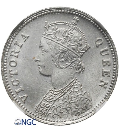 Indie Brytyjskie 1/4 Rupii 1862 C, Kalkuta, NGC MS 63