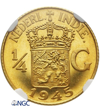 Netherlands East Indies 1/4 Gulden 1945 (Gold)  - NGC PF 64