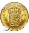 Indie Holenderskie 1/4 Guldena 1945 - NGC PF 64