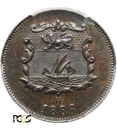 Brytyjskie Północne Borneo 1/2 centa 1886 H - PCGS MS 63 BN