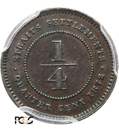 Malaje - Straits Settlements 1/4 Centa 1872 H - PCGS AU 58