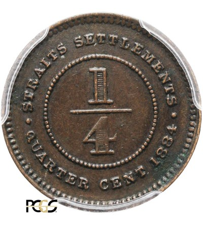 Malaje - Straits Settlements 1/4 Centa 1884 - PCGS AU 50