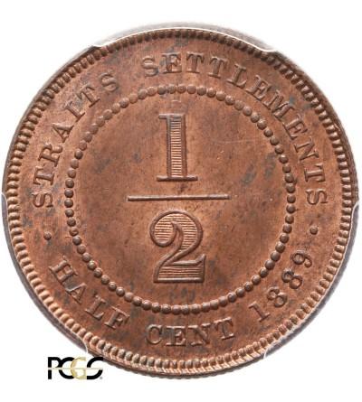 Malaje - Straits Settlements 1/2 Centa 1889 - PCGS MS 64 RB