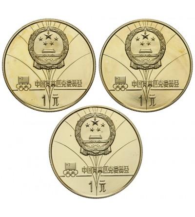 Chiny 1 Yuan 1980, Lake Placid - 3 sztuki