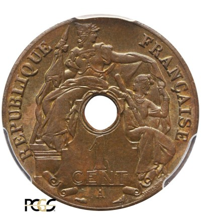Indochiny Francuskie 1 cent 1920 A - PCGS MS 64 BN