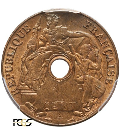 Indochiny Francuskie 1 cent 1921 A - PCGS MS 65 RB