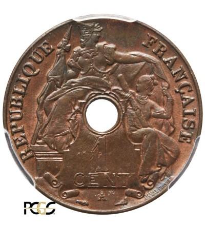 Indochiny Francuskie 1 cent 1922 A - PCGS MS 64 BN
