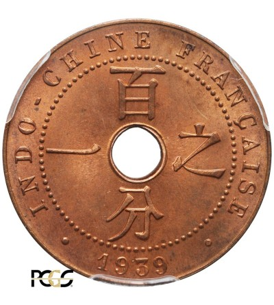 Indochiny Francuskie 1 cent 1939 A - PCGS MS 66 RD