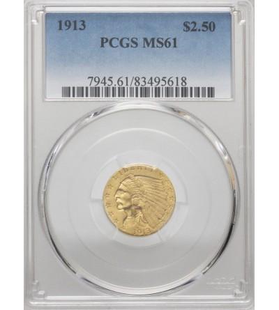 USA 2,5 dolara 1913, Quartel Eagel - Indian Head - PCGS MS 61