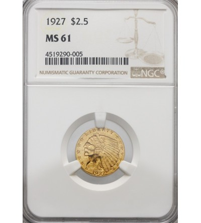 USA 2,5 dolara 1927, Quartel Eagel - Indian Head - NGC MS 61