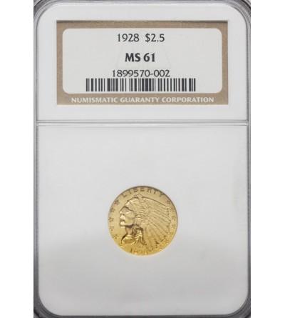 USA 2,5 dolara 1928, Quartel Eagel - Indian Head - NGC MS 61