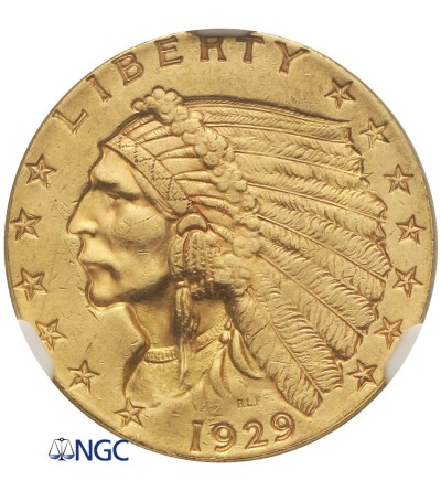 USA 2,5 dolara 1929, Quartel Eagel - Indian Head - NGC MS 61