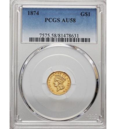 USA 1 dolar 1874, Indian Head - PCGS AU 58