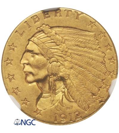 USA 2,5 Dollar 1912, Quartel Eagel - Indian Head - NGC MS 61