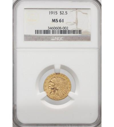 USA 2,5 dolara 1915, Quartel Eagel - Indian Head - NGC MS 61