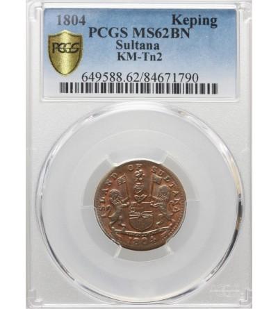 Wschodnie Indie Holenderskie 1 Keping AH 1219 / 1804 AD, Sultana Island (kupcy Singapurscy) - PCGS MS 62