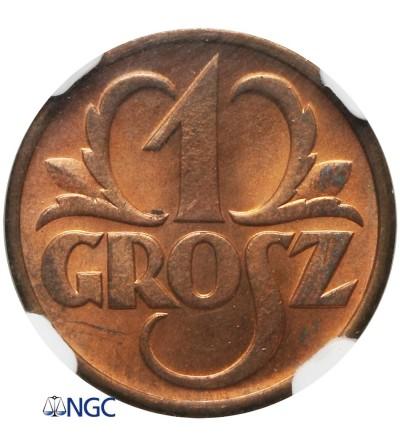 1 grosz 1938, Warszawa - NGC MS 65 RB