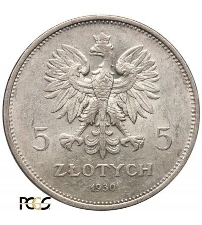 5 złotych 1930, sztandary - PCGS AU58