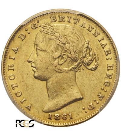 Australia 1 suweren 1861, Sydney - PCGS AU 55
