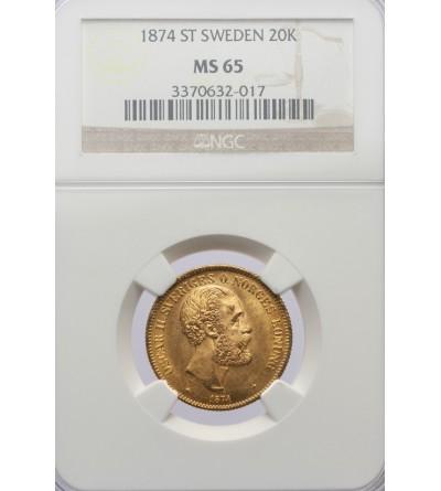 Szwecja 20 koron 1874 ST - NGC MS 65