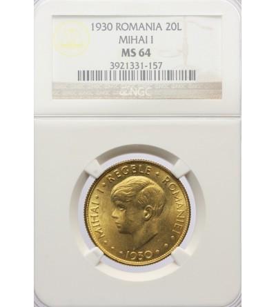 Rumunia 20 Lei 1930, Londyn - NGC MS 64