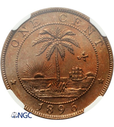 Liberia 1 Cent 1896 H - NGC MS 65 RB