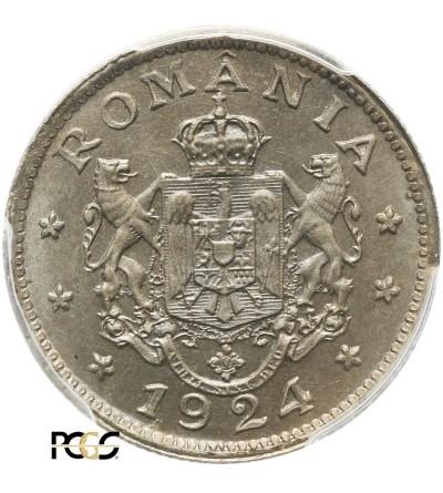 Rumunia 1 Leu 1924 (b) - PCGS MS 66