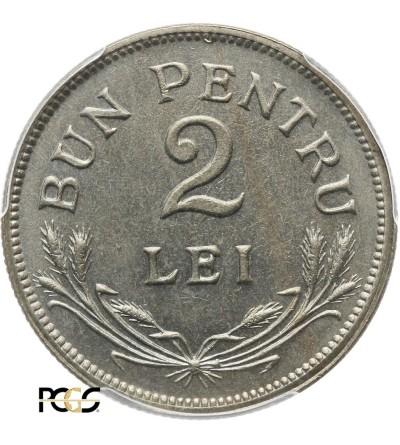 Rumunia 2 Lei 1924 (b) - PCGS MS 66