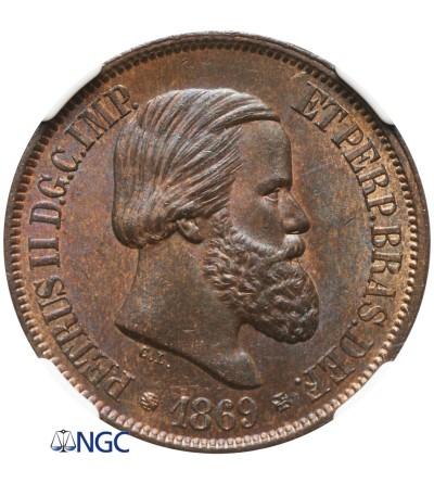 Brazil 20 Reis 1869 - NGC MS 65 BN