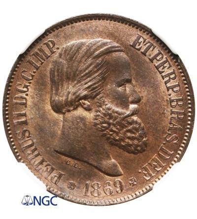 Brazil 20 Reis 1869 - NGC MS 64 BN