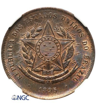 Brazil 20 Reis 1895 - NGC MS 64 BN