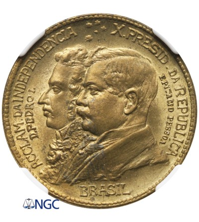 Brazil 1000 Reis 1922 - NGC MS 65