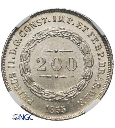 Brazylia 200 Reis 1855 - NGC MS 65