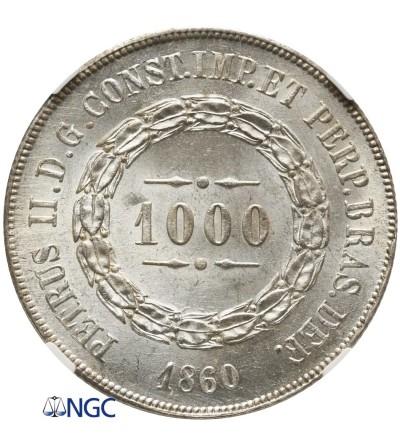 Brazylia 1000 Reis 1860 - NGC MS 63
