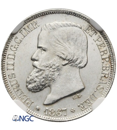 Brazil 200 Reis 1867 - NGC MS 63+
