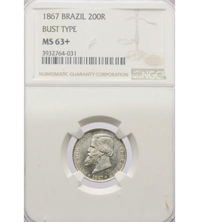Brazylia 200 Reis 1867 - NGC MS 63+