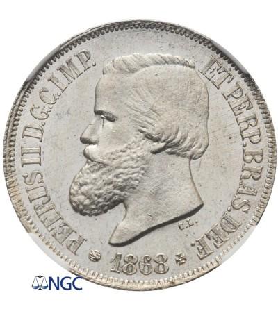 Brazil 500 Reis 1868 - NGC MS 64