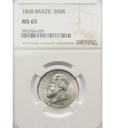 Brazylia 500 Reis 1868 - NGC MS 65