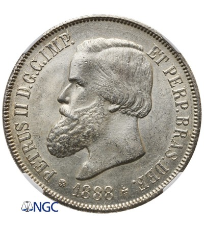 Brazil 2000 Reis 1888 - NGC MS 63