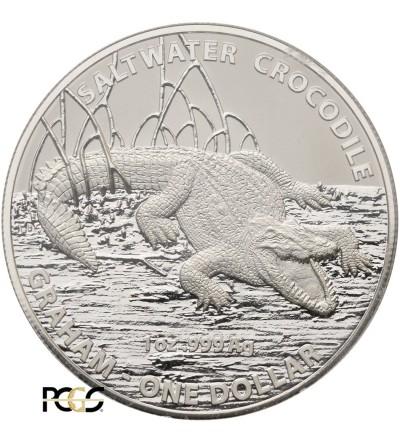 Australia 1 dolar 2014 - krokodyl - PCGS MS 70