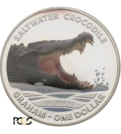 Australia 1 dolar 2014 - krokodyl słonowodny kolorowany - PCGS MS 69