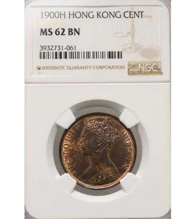Hong Kong 1 cent 1900 H - NGC MS 62 BN