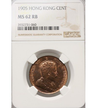 Hong Kong 1 Cent 1905 - NGC MS 62 RB