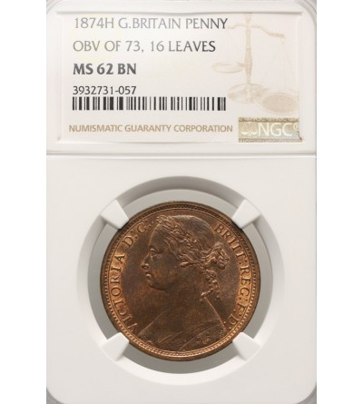 Great Britain Penny 1874 H - NGC MS 62 BN, 16 Leaves