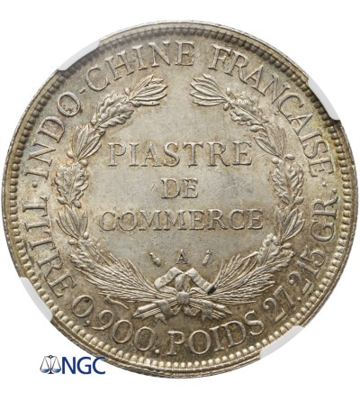 Indochiny Francuskie 1 piastre 1886 A - NGC MS 63