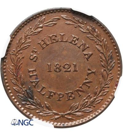 Wyspa Św. Heleny 1/2 penny 1821 - NGC MS 62 BN