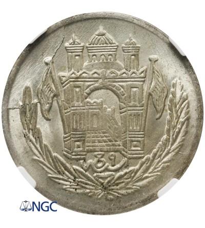 Afghanistan 1/2 Afghani (50 Pul) AH 1306 Year 9 / 1927 AD - NGC MS 65