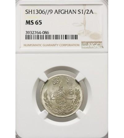Afganistan 1/2 Afgani (50 pul) AH 1306 rok 9 / 1927 AD - NGC MS 65