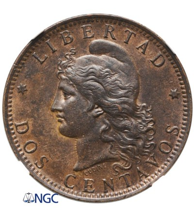 Argentina 2 Centavos 1890 - NGC AU 58 BN
